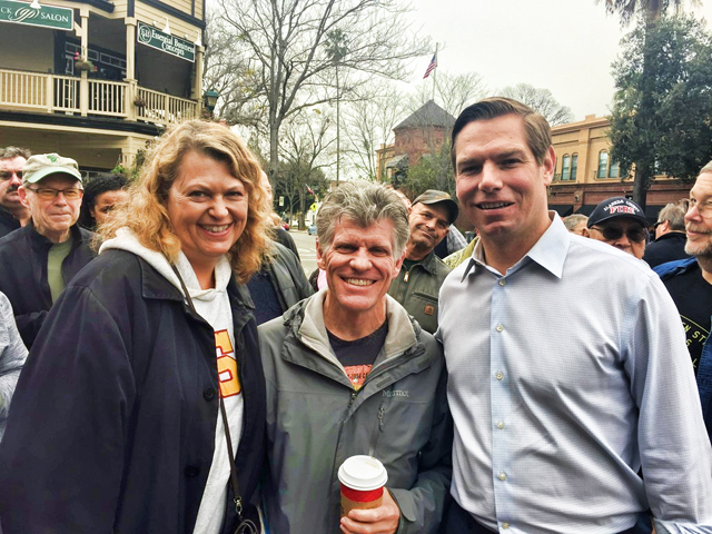 CA-15 team co-leads Ward and LeAnn Kanowsky meet Rep Eric Swalwell