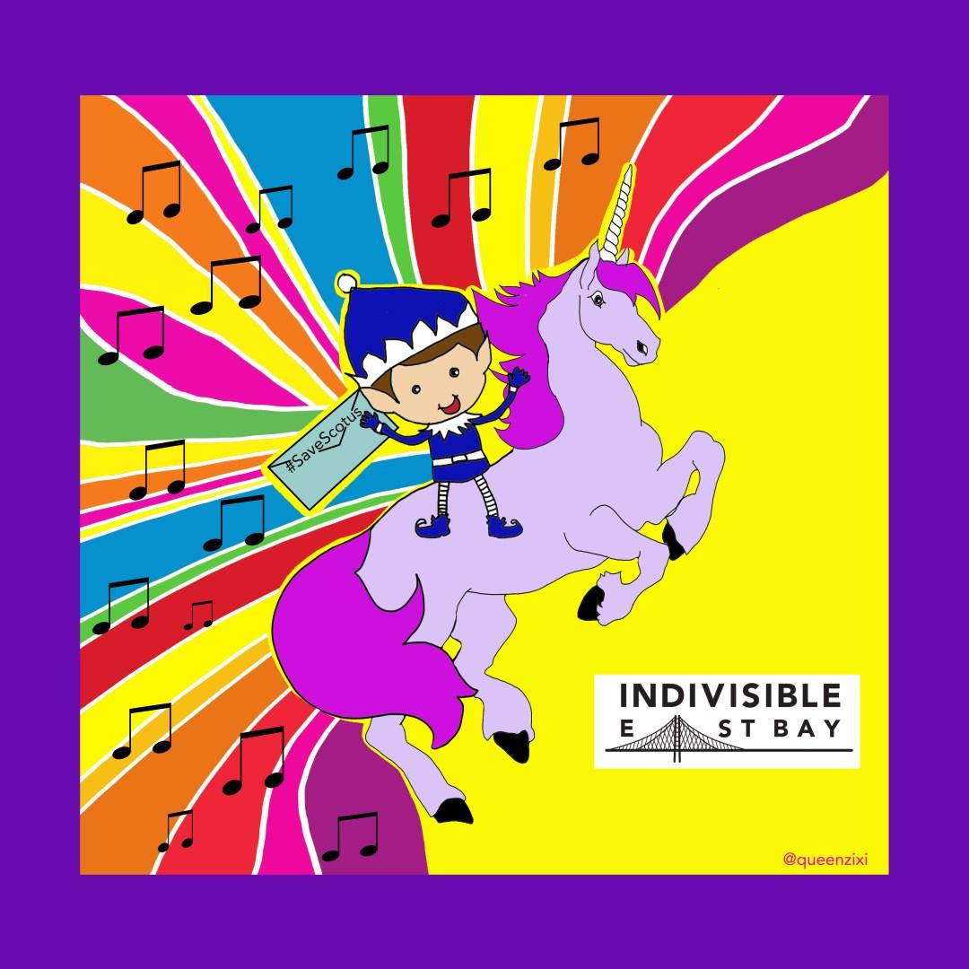 singing elf on unicorn