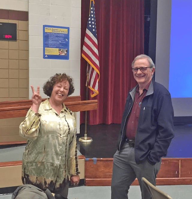Janis Hashe & friend at Rep DeSaulnier Richmond Town Hall, photo by Ted Lam