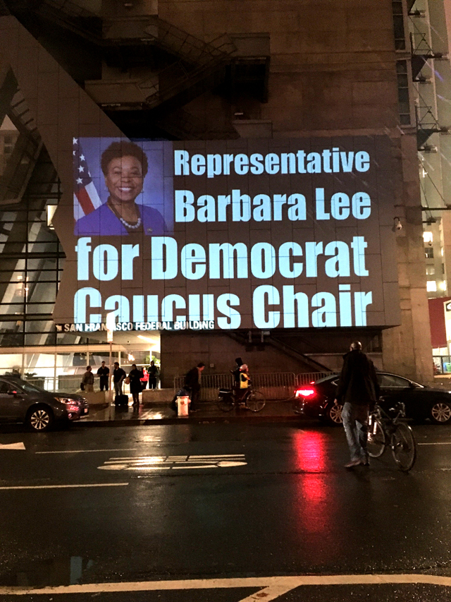 Rep Barbara Lee for Democratic Caucus Chair, projection in SF on 11/27/18