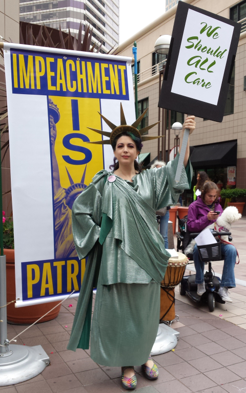 Lady Liberty at Impeach Trump event