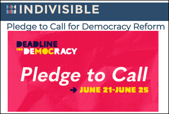 Indivisible National's Pledge to Call for Democracy Reform