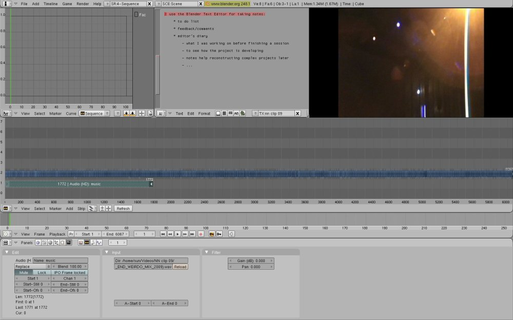 Editing with Blender, Ubuntu: Screenshots, workflow from my Notic Nastic live clip (3/6)