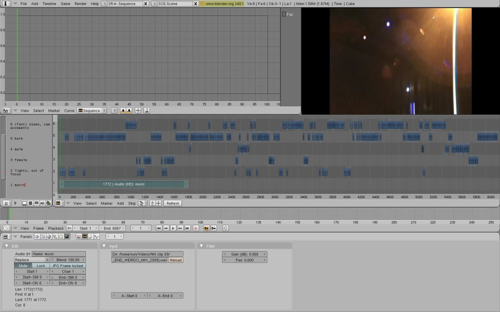 Editing with Blender, Ubuntu: Screenshots, workflow from my Notic Nastic live clip (4/6)