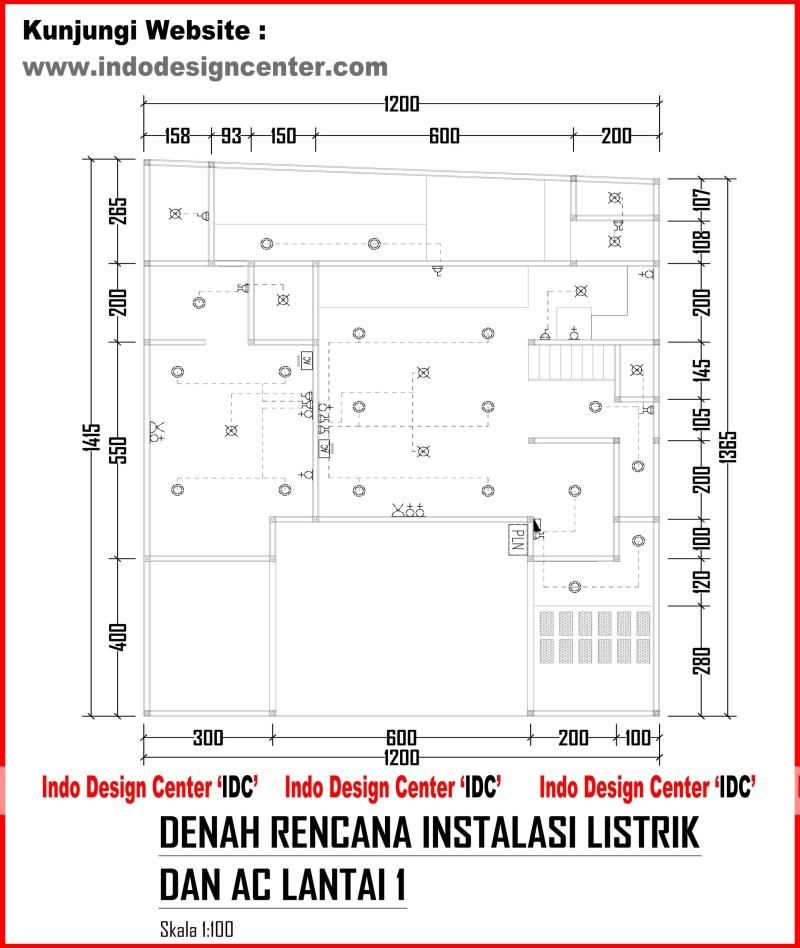 Denah Rencana Instalasi Listrik Dan Ac Lantai 1 Arsip