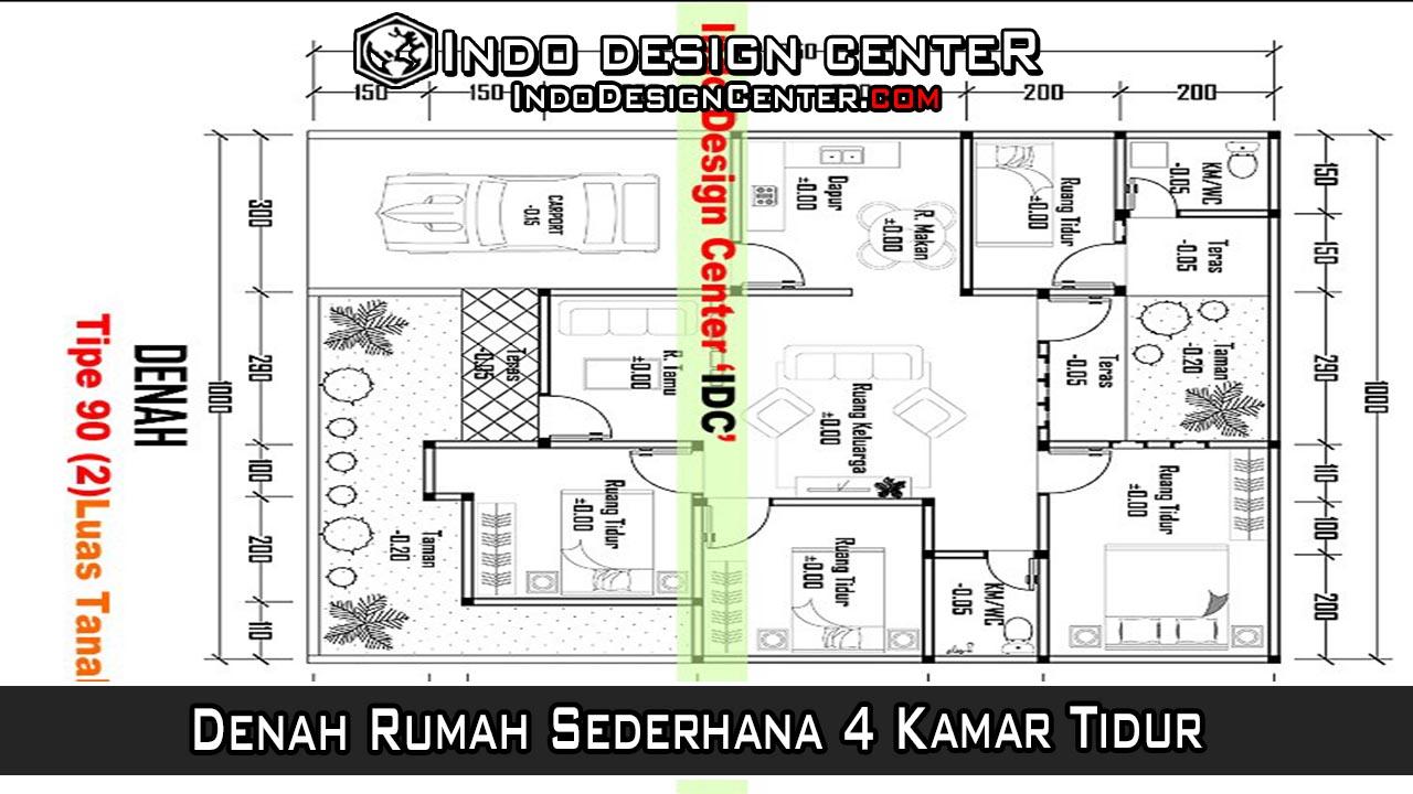 Denah Rumah Sederhana 4 Kamar Tidur Download File Denah AutoCAD