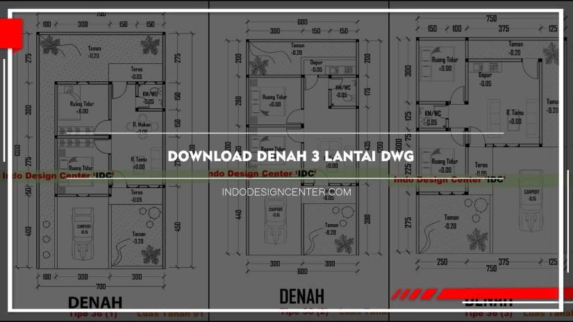 Download Denah 3 Lantai Dwg