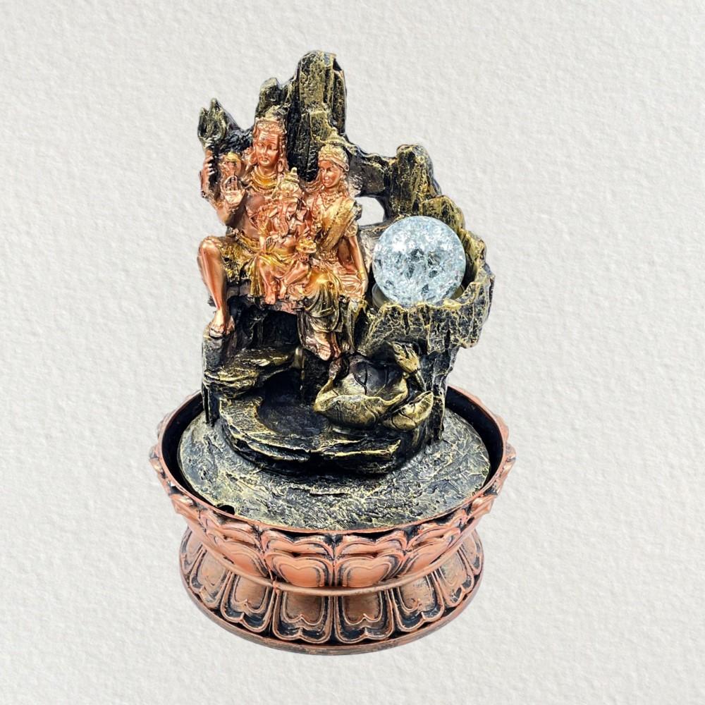 Shiv Family Fountain w/ Crystal Ball 30cm