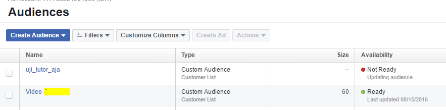 Daftar audience fb ads