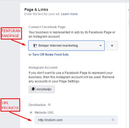 Pilih fanspage & Url promosi Fb ads