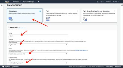 AWS Amazon Servicios web - Lambda - Nueva función