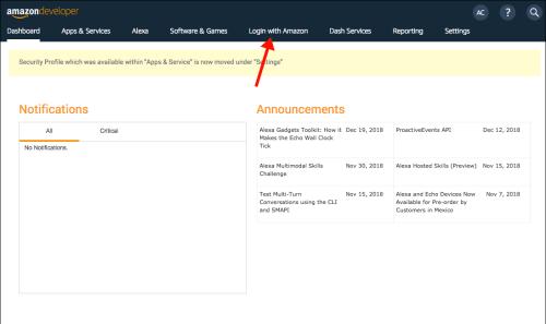 Amazon Developer Console - Login with Amazon