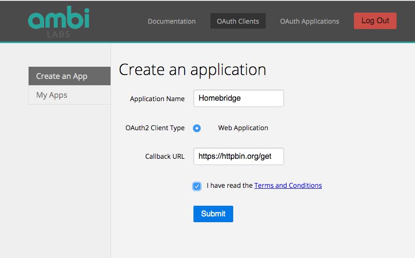 Ambi Climante - OAuth Client - Homebridge