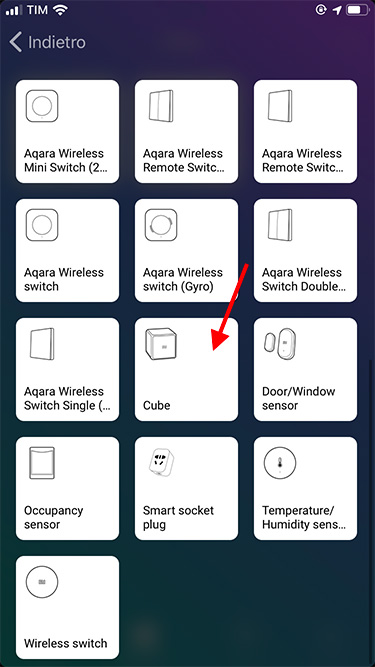 App Homey – Xiaomi – Aggiunta dispositivo - Xiaomi Cube 1
