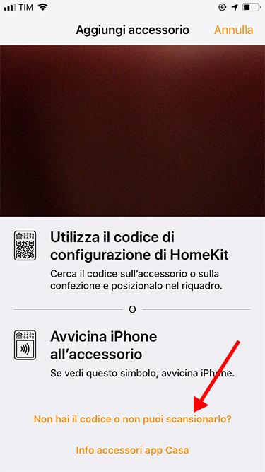 Apple HomeKit - Aggiunta accessorio - no codice