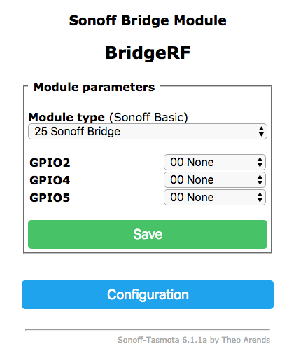 Configurazione Sonoff RF Bridge