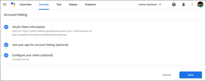 Google Actions - Project Dashboard - Setup account linking - Save