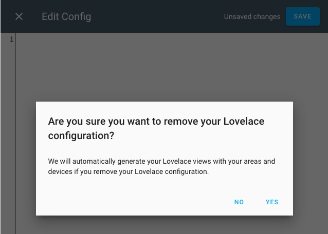 Home Assistant 0.104 - Lovelace UI - cancellazione configurazione