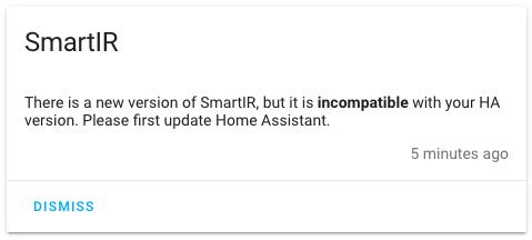 Home Assistant - SmartIR incompatibile con la versione di HA