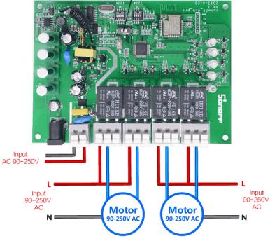 ITEAD Sonoff 4ch PRO connessione motori AC