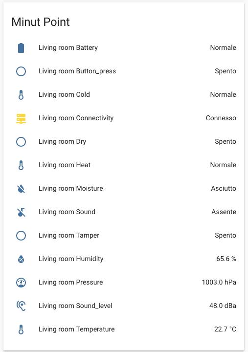 Minut Point - Home Assisant - lista entità