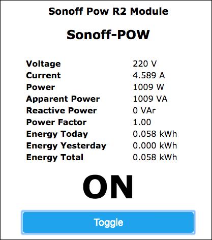 Sonoff-Tasmota Interface Web POW R2