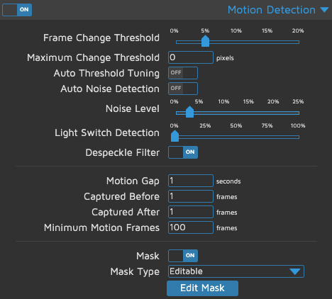 motionEye - Motion Detection - Mascherino e filtri