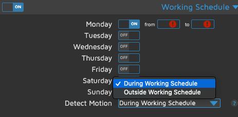 motionEye - Working Schedule