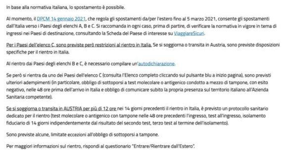 Covid 19 Elaborazione sito Farnesina