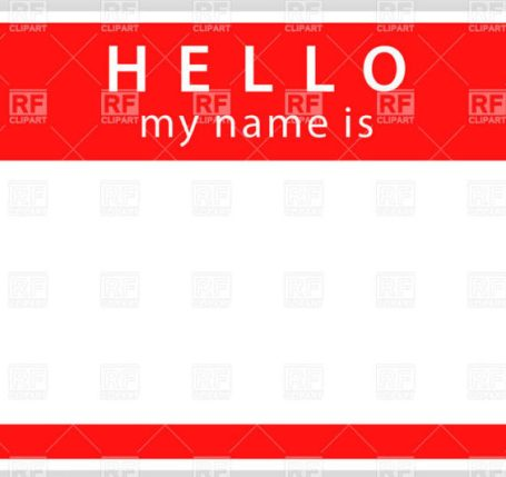 name tag... simple words