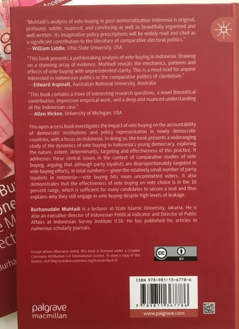 "Back Cover, ""Vote Buying in Indonesia The Mechanics of Electoral Bribery"" By Muhtadi, Burhanuddin"