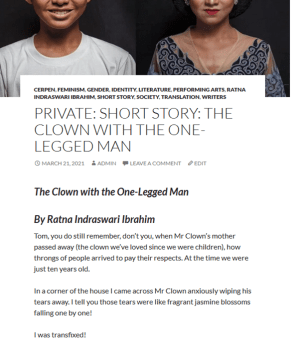 Indonesian Short Story - The Clown with the One-Legged Man by Ratna Indraswari Ibrahim
