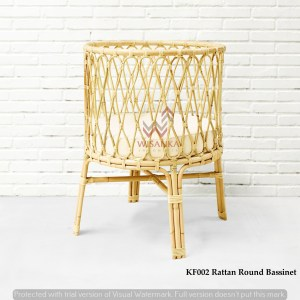 Round Rattan Bassinet With Cushion