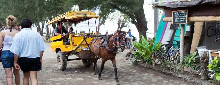 Paard en wagen, de lokale taxi op Gili Trawangan