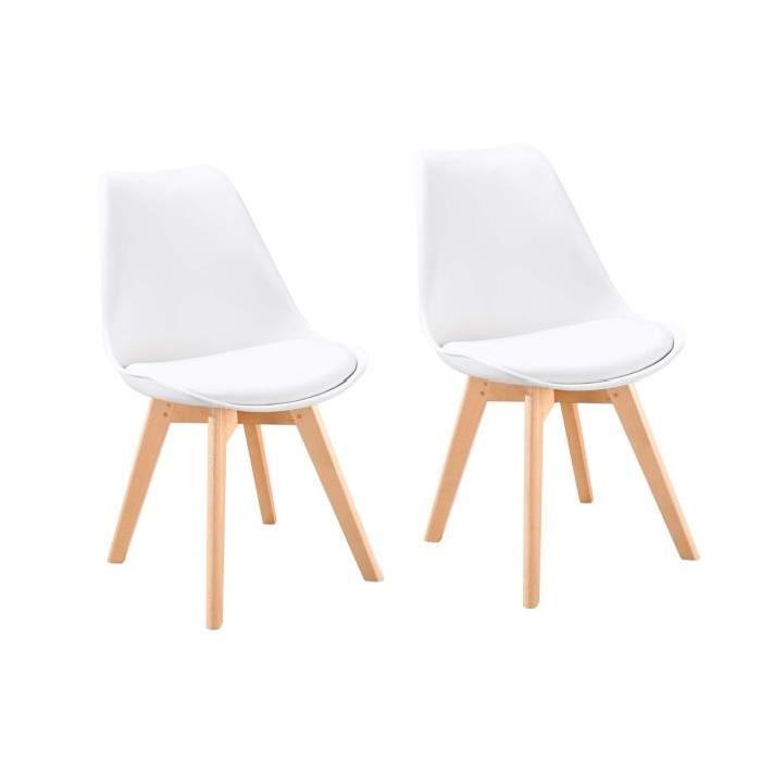 bjorn lot de 2 chaises scandinaves de salle a manger blanc et pieds en hetre naturel