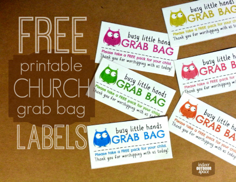 Free printable kids play pack labels for church