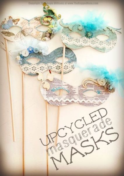 Upcycled Masquerade Ball Masks frugal DIY craft project