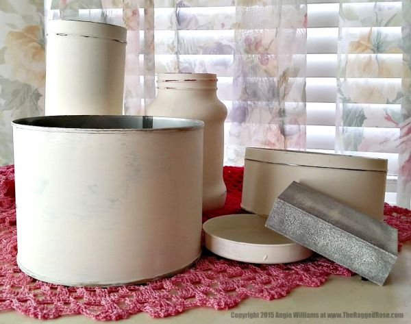 how to chalk paint metal tins craft tutorial
