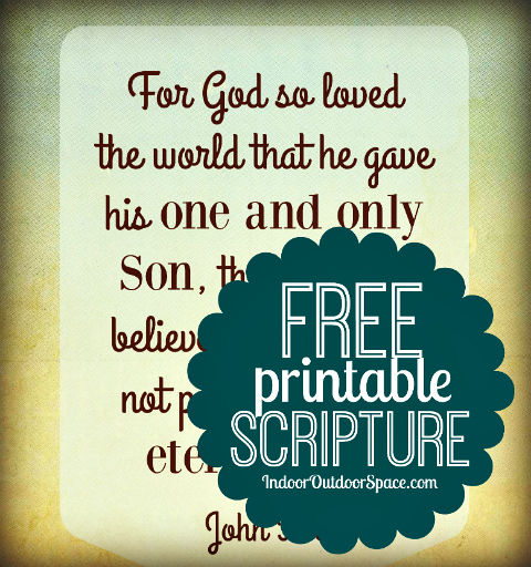 John 3-16 Free Printable PDF Wall Art Bible Verse by Shalana