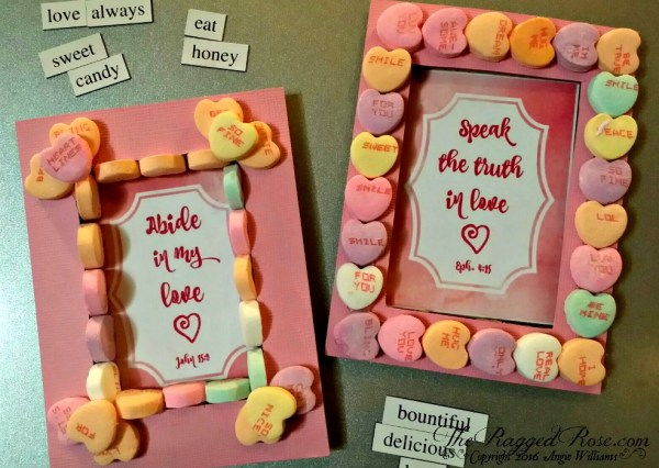 Upcycled Conversation Heart Valentines Day Frame Craft with Free Printable Scripture