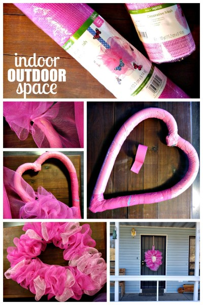 Hot Pink Heart Shaped Mesh Wreath for Valentines Day at Indoor Outdoor Space
