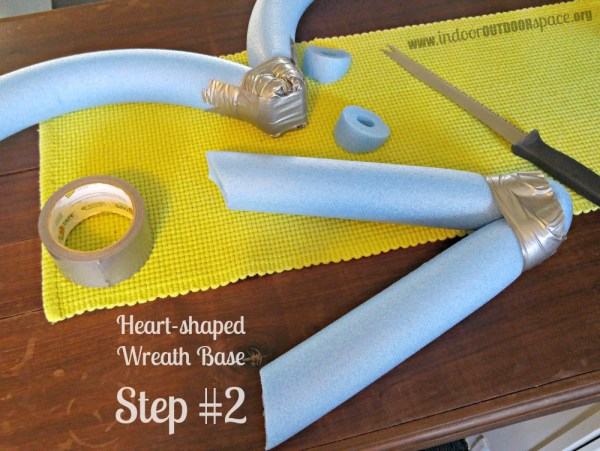 Pool Noodle Heart Shaped Wreath Base Craft Tutorial Step Two