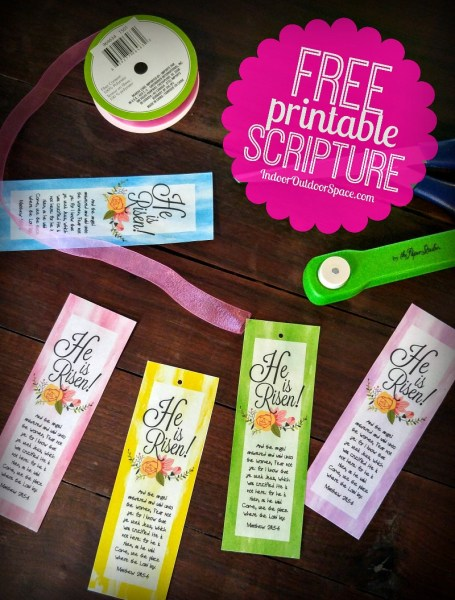 Free Easter Bookmarks He is Risen DIY Craft Tutorial with Free Scripture Printable at Indoor Outdoor Space
