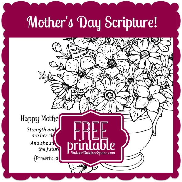 Mothers Day FREE Printable Proverbs 31 Scripture kids coloring page at Indoor Outdoor Space