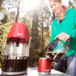 portable coffeemaker, camping coffeemaker, propane coffeemaker, coleman coffeemaker, tent camping coffeemaker, tailgating coffee