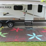 9×16 Colorful Floral RV Patio Mat for Camping