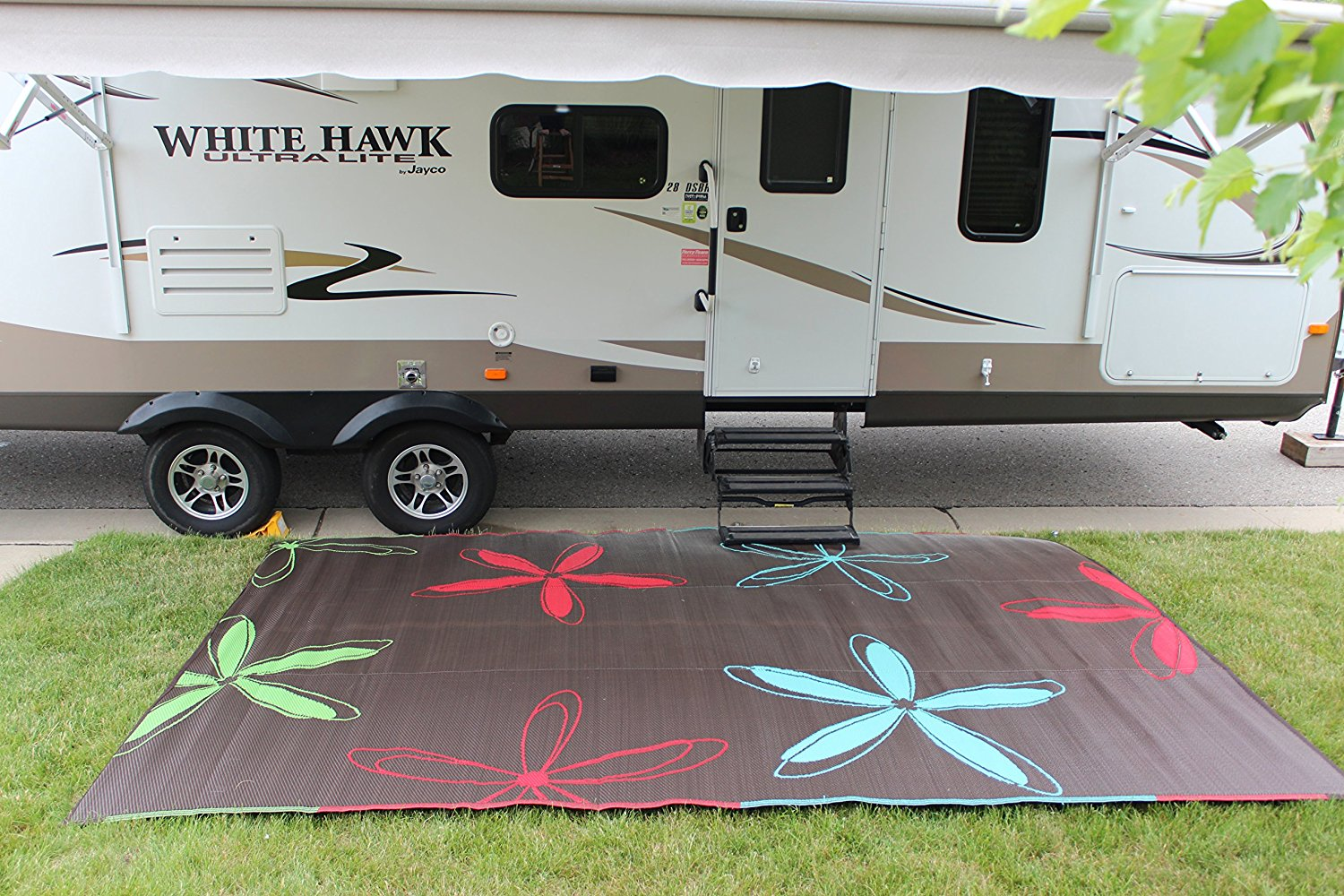 outdoor rv living patio mat rug c&ing gl&ing tent & 9x16 Colorful Floral RV Living Outdoor Patio Mat for Camping