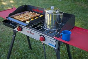 camp chef, 2 burner, cook top, blue flame, stove, camping