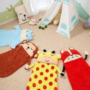 Plush sleeping bag, kids, kids sleeping bags, Animal Sleeping Bag, Fox, Giraffe, Monkey, Hippo, Camping, sleepovers, nap time