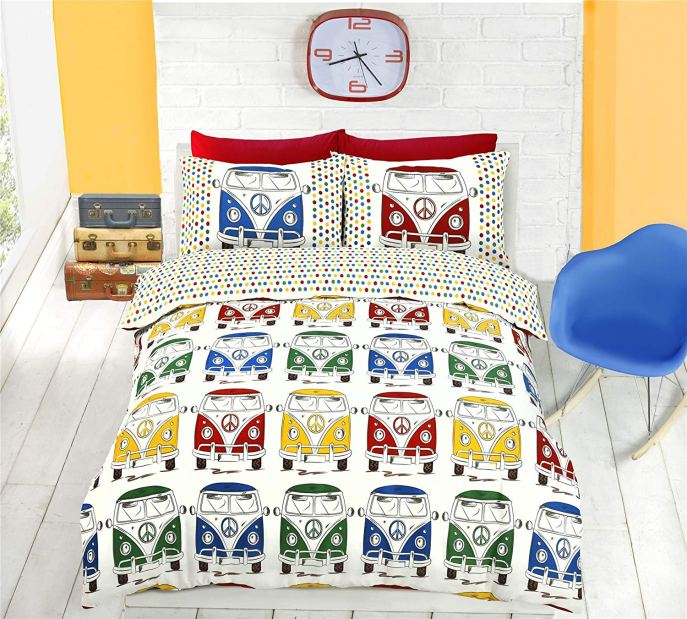 Queen VW Camper Van Retro Duvet Cover & Pillowcases for Camping